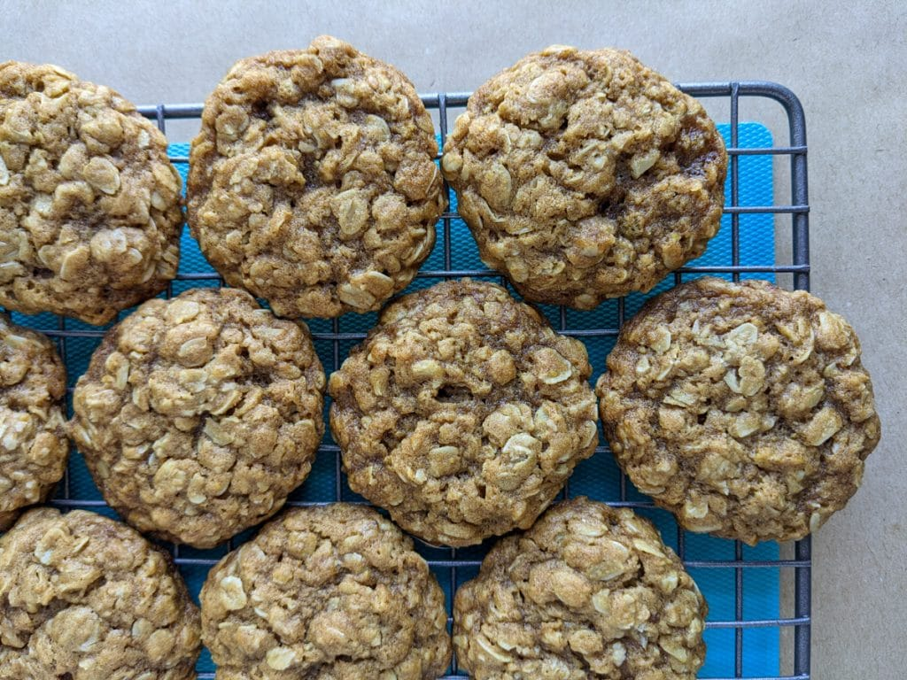 Tray of cooling oatmeal cookies