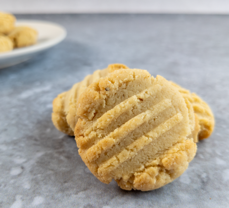 A delicious vegan almond cookie is ready to be eaten.