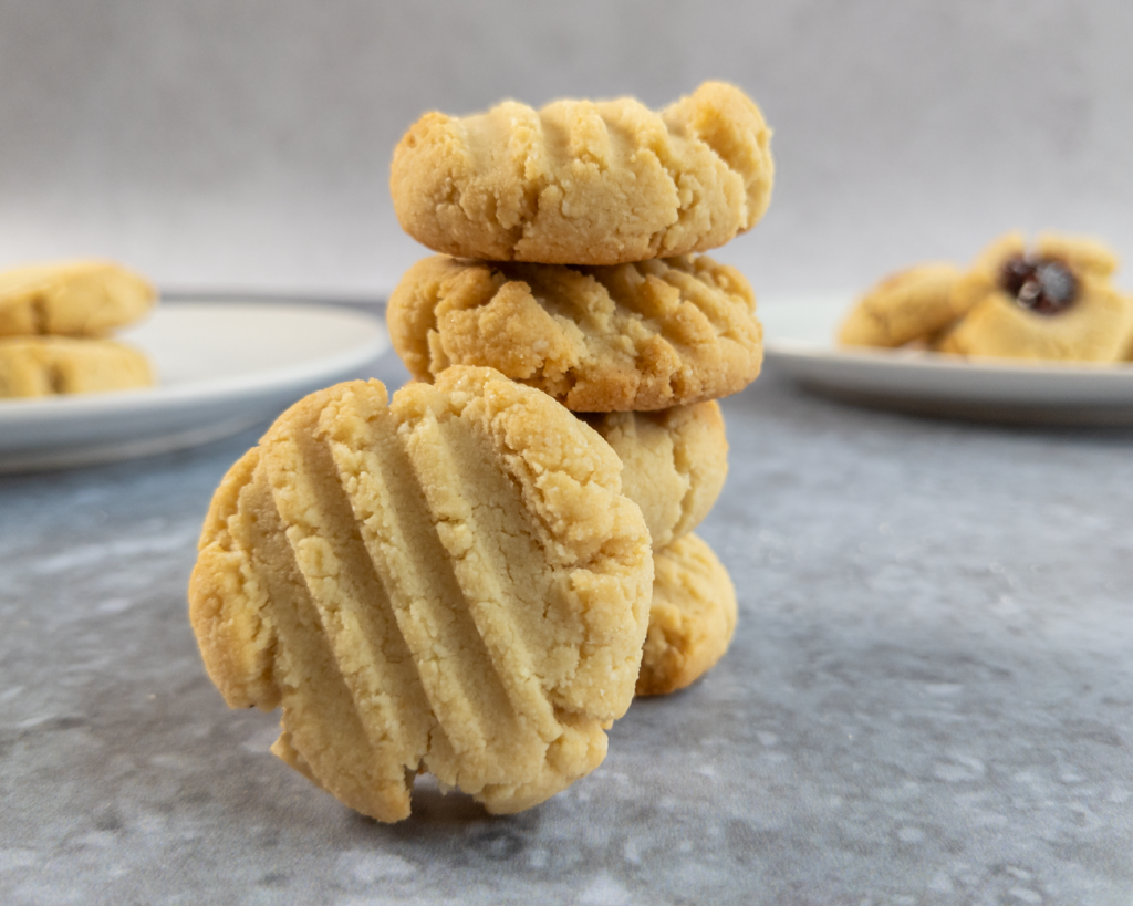 A pretty almond cookie is on display.
