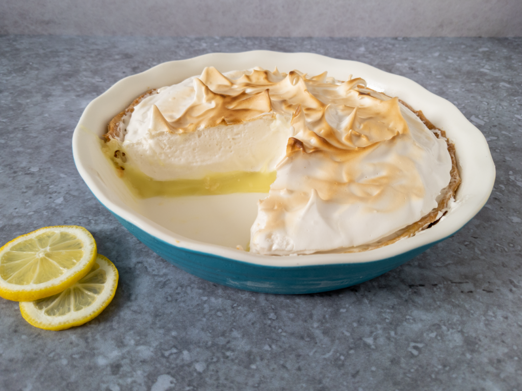 Vegan lemon meringue pie made with fresh lemon curd.