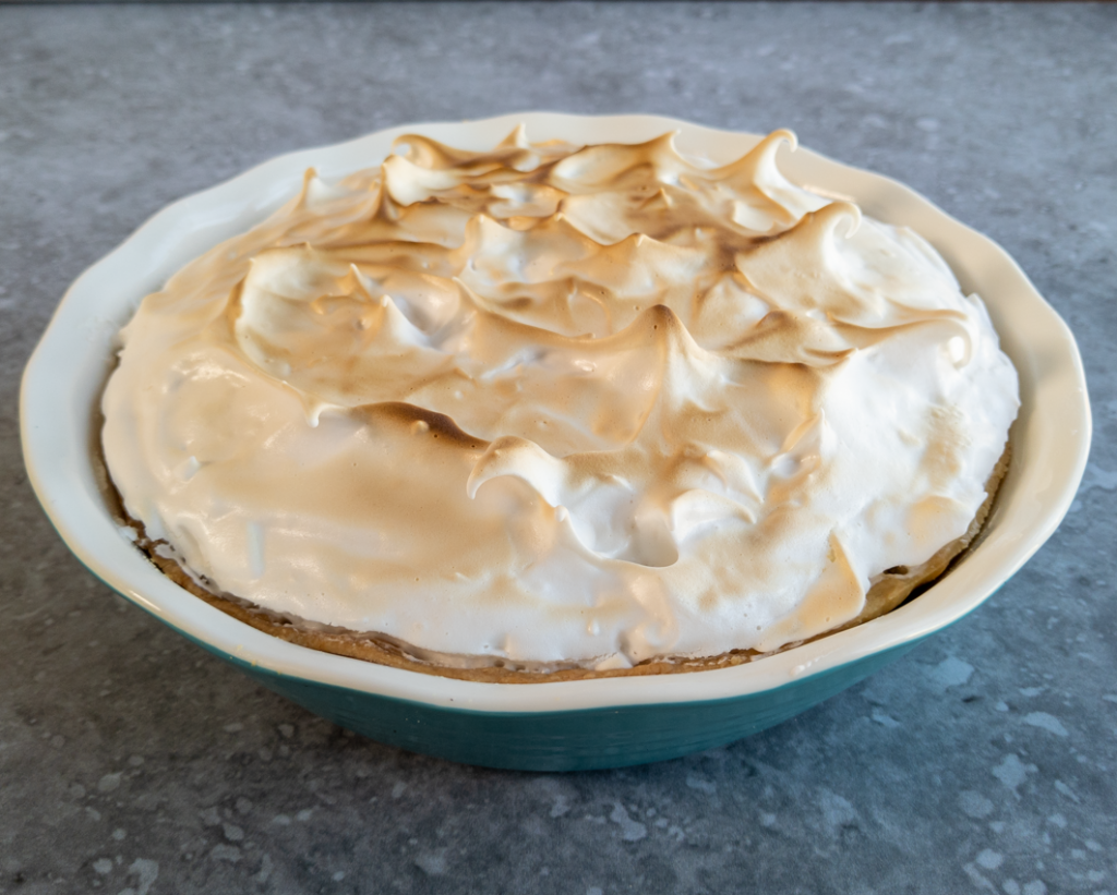 The best vegan lemon meringue pie pictured before tasting.
