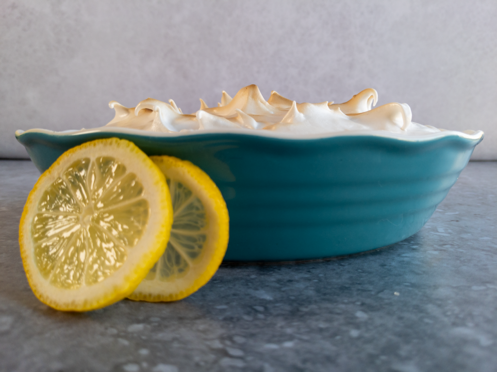The best vegan lemon meringue pie with toasted aquafaba meringue.